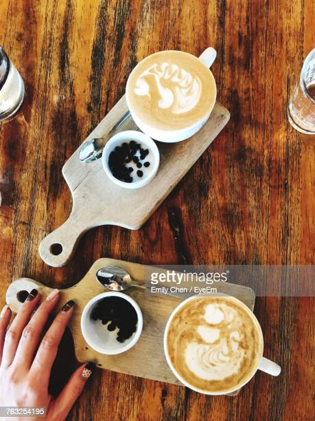 Directly Above Of Cappuccino On Table