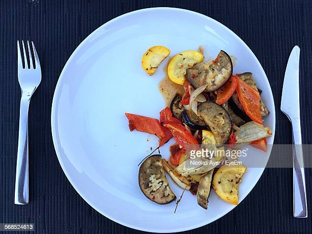 Directly Above Of Fried Vegetable Slices Served On Plate