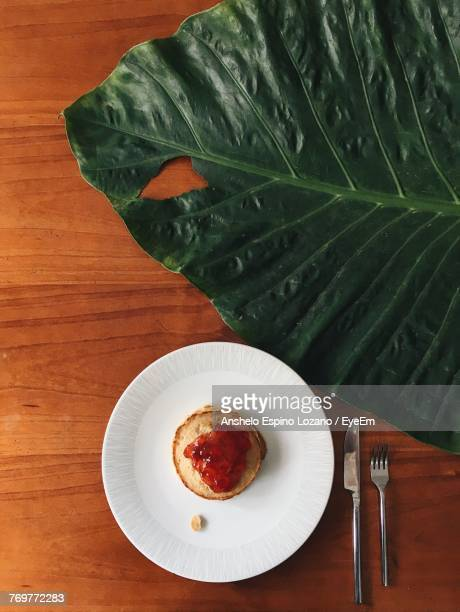 Directly Above Shot Dessert And Leaf On Table