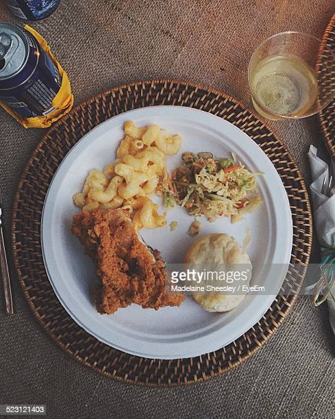 Directly Above Shot Fried Chicken Meal Served On Table