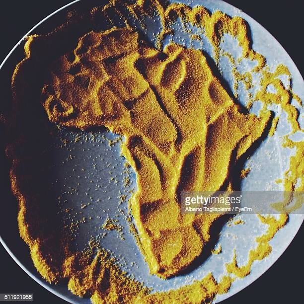 Directly above shot of Africa map made of couscous