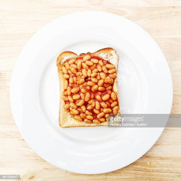 Directly Above Shot Of Baked Beans On Toast