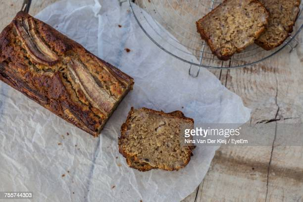 Directly Above Shot Of Banana Bread On Table
