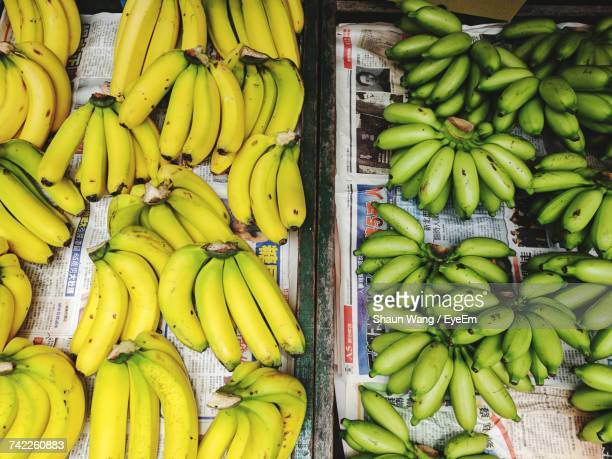 Directly Above Shot Of Bananas For Sale At Market