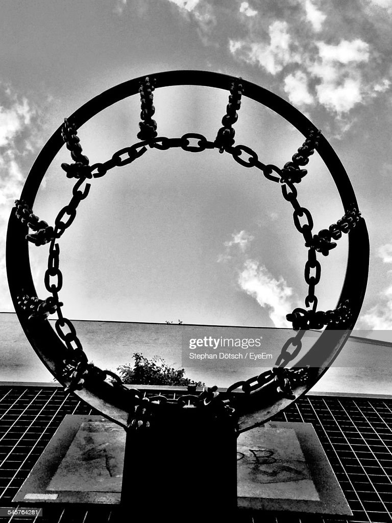 directly above shot of basketball hoop against sky stock photo