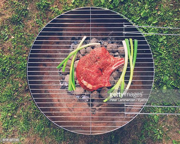 Directly Above Shot Of Beef Steak On Barbeque Grill