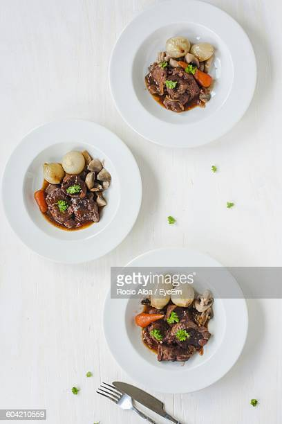 Directly Above Shot Of Beef Stew Served In Plate