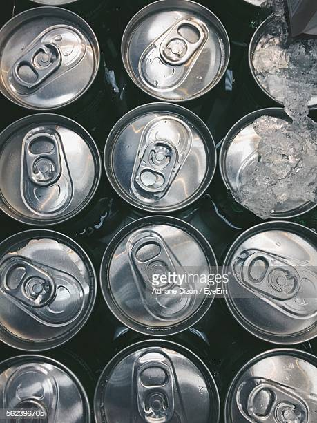 Directly Above Shot Of Beer Cans