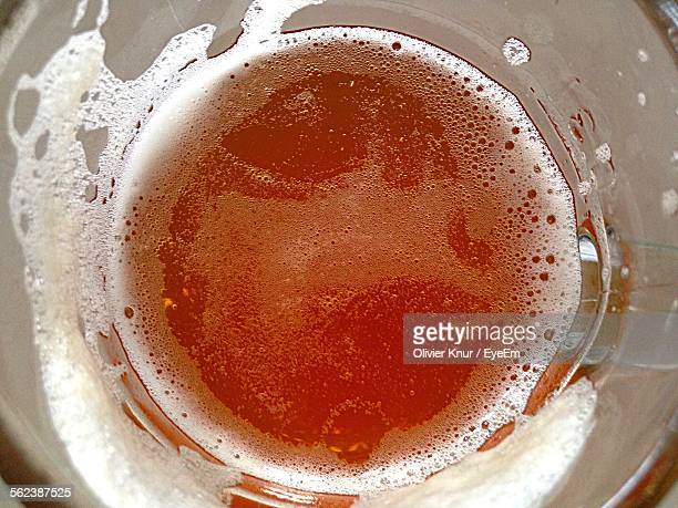 Directly Above Shot Of Beer In Glass