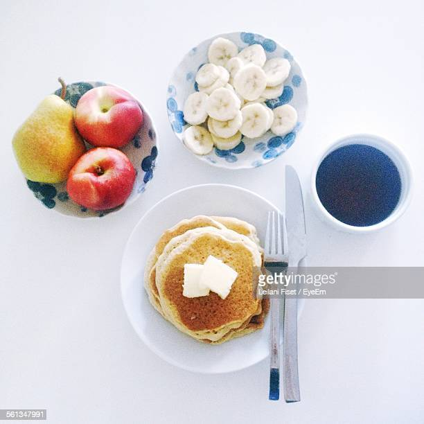 Directly Above Shot Of Breakfast Against White Background