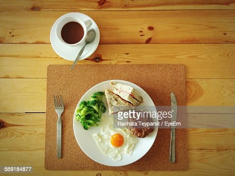 Directly Above Shot Of Breakfast With Coffee Cup