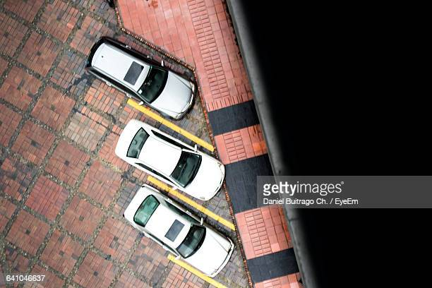 Directly Above Shot Of Cars On Parking Lot