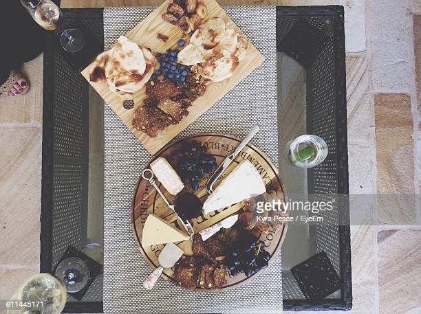Directly Above Shot Of Cheese Platter Served On Table