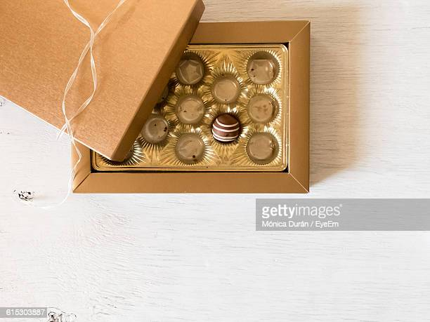 Directly Above Shot Of Chocolate In Box