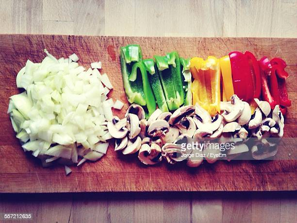 Directly Above Shot Of Chopped Vegetables On Cutting Board