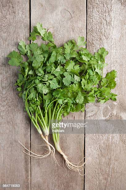 Directly above shot of coriander leaves on wooden table