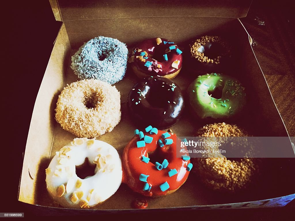 Directly Above Shot Of Donuts In Box