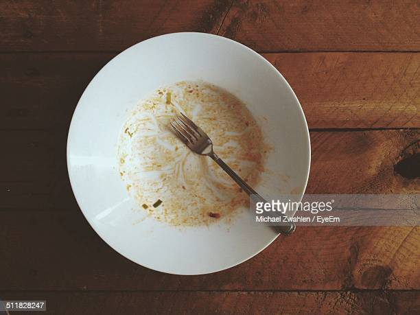 Directly above shot of empty plate with fork