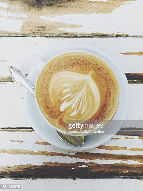 Directly Above Shot Of Froth Art On Coffee