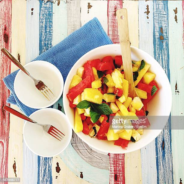Directly Above Shot Of Fruit Salad On Table