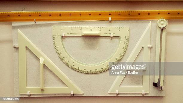 Directly Above Shot Of Geometric Rulers On Table