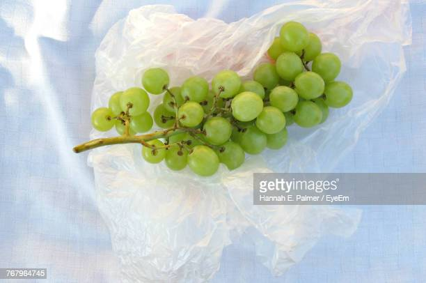 Directly Above Shot Of Grapes On Plastic