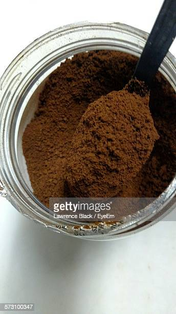 Directly Above Shot Of Ground Coffee In Jar
