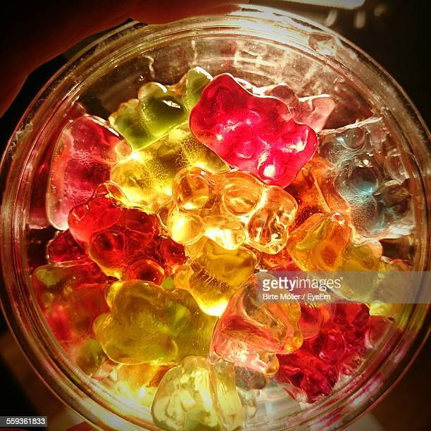 Directly Above Shot Of Gummy Bears In Jar