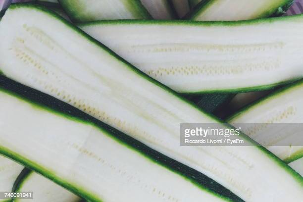 Directly Above Shot Of Halved Zucchinis On Table
