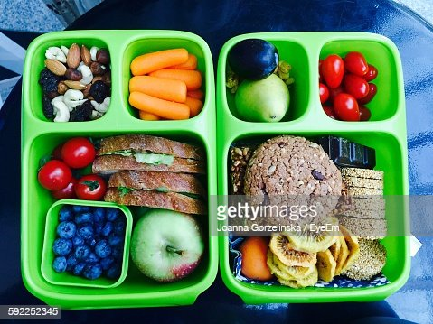 Directly Above Shot Of Healthy Food In Green Lunch Box
