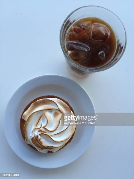 Directly above shot of iced coffee and ice cream
