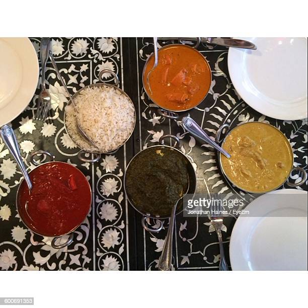 Directly Above Shot Of Indian Food On Table
