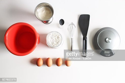 Directly Above Shot Of Ingredients For Making Pancake