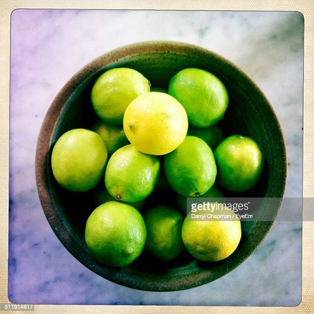 Directly above shot of lemons in bowl