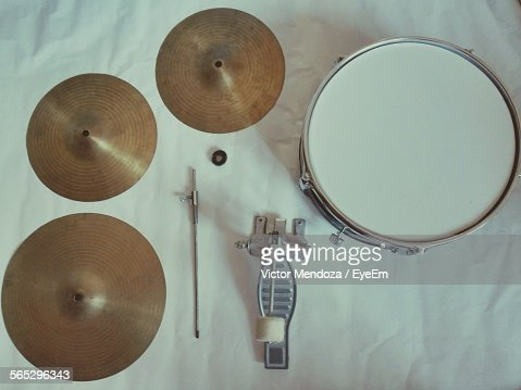 Directly Above Shot Of Musical Instruments On Table