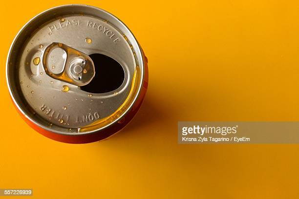 Directly Above Shot Of Open Beer Drink Can