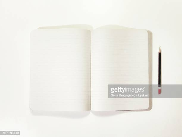 Directly Above Shot Of Open Book With Pencil On White Background