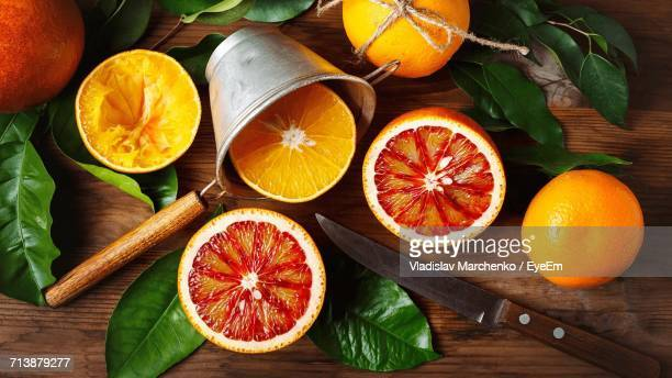 Directly Above Shot Of Oranges On Table