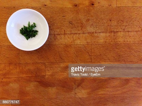 Directly Above Shot Of Parsley In Plate On Table