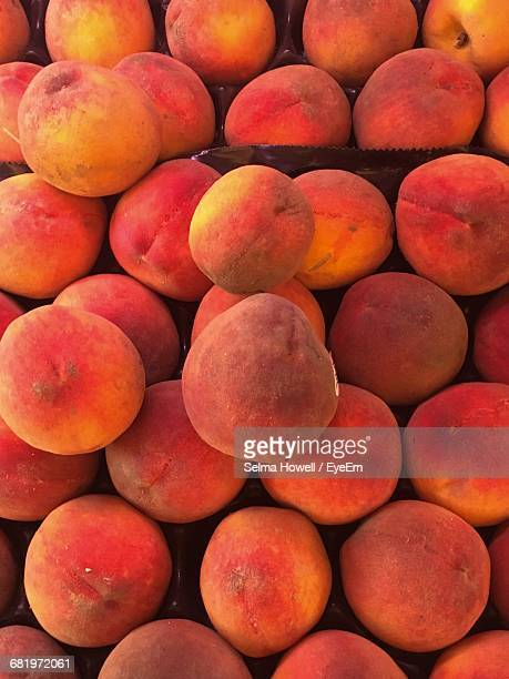 Directly Above Shot Of Peaches At Market Stall