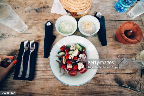 Directly Above Shot Of Salad In Bowl On Table In Restaurant