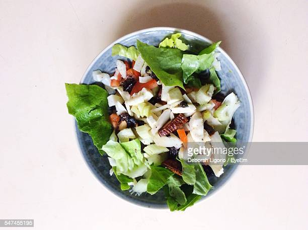 Directly Above Shot Of Salad Served In Bowl On Table