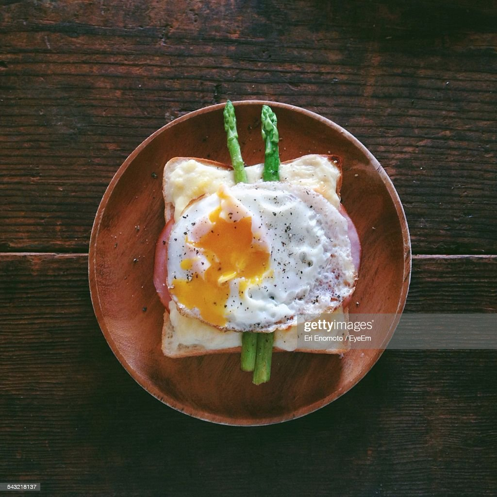 Directly Above Shot Of Sandwich Served In Plate On Table