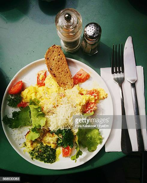 Directly Above Shot Of Scrambled Eggs Served On Plate