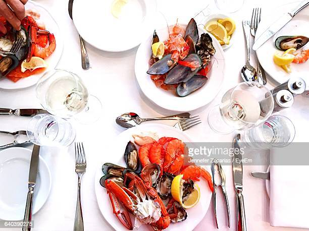Directly Above Shot Of Seafood Served On Table