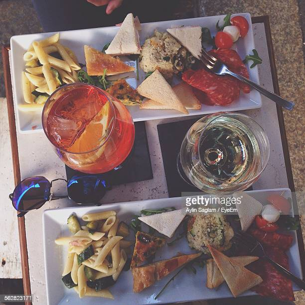 Directly Above Shot Of Served Foods In Tray