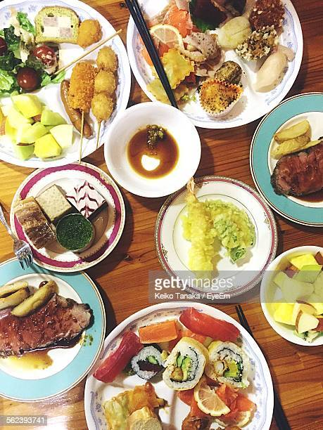 Directly Above Shot Of Served Foods On Table
