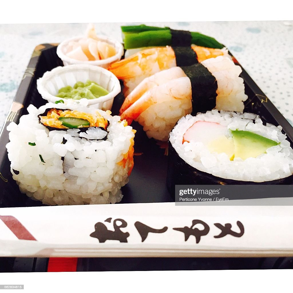 Directly Above Shot Of Served Sushi On Table