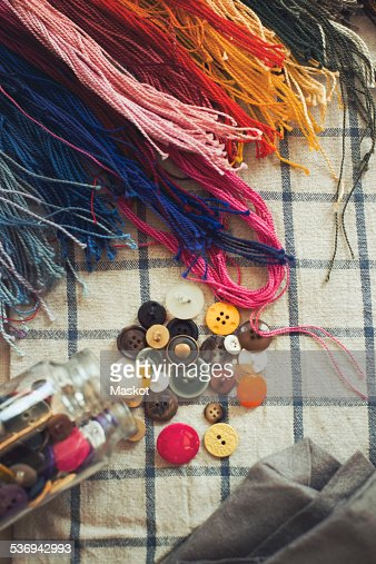 Directly above shot of sewing material on table