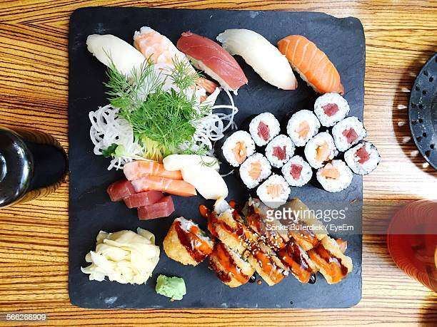 Directly Above Shot Of Sushi Food Served On Table